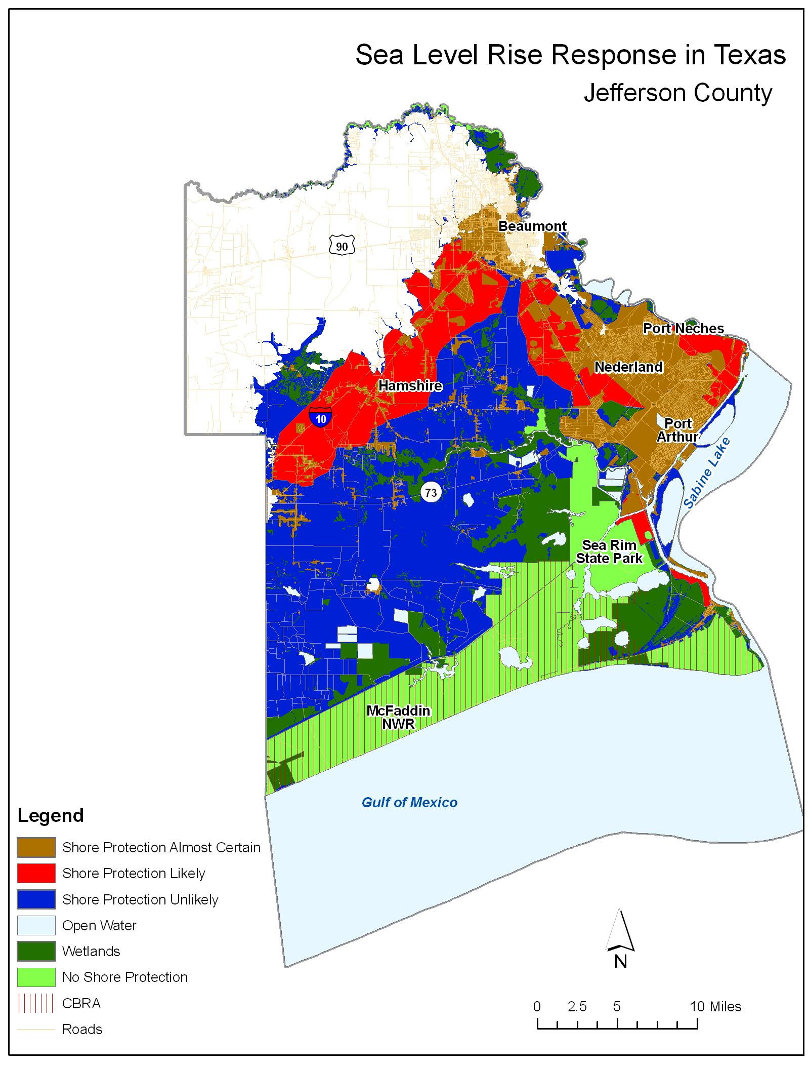 Adapting To Global Warming - Louisiana sea level map
